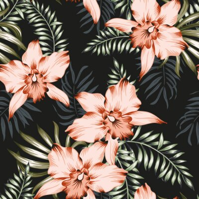 Tapeta Tropical orchid flowers and palm leaves bouquets, black background. Vector seamless pattern. Jungle foliage illustration. Exotic plants. Summer beach floral design. Paradise nature