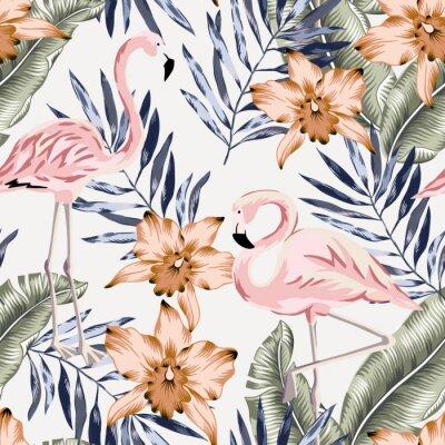 Tapeta Tropical pink flamingo, orange orchid flowers, banana palm leaves background. Vector seamless pattern. Jungle illustration. Exotic plants, birds. Summer floral design. Paradise nature
