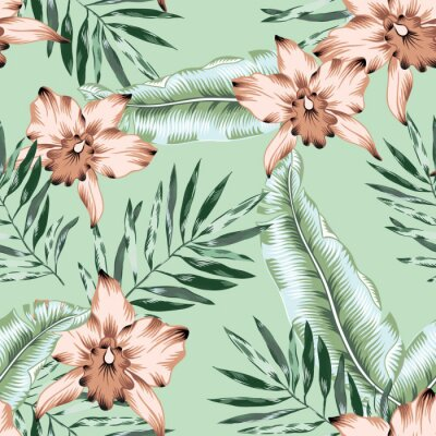 Tapeta Tropical pink orchid flowers, banana palm leaves, mint green background. Vector seamless pattern. Jungle foliage illustration. Exotic plants. Summer beach floral design. Paradise nature