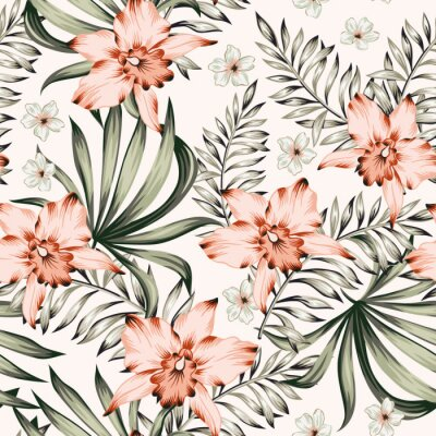 Tapeta Tropical pink orchid, plumeria flowers and palm leaves bouquets background. Vector seamless pattern. Jungle foliage illustration. Exotic plants. Summer beach floral design. Paradise nature
