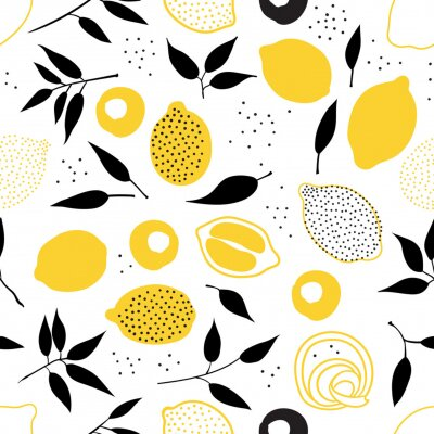 Tapeta Tropical seamless pattern with yellow lemons and lemon slices. Hand drawn lemons pattern on white background. Fruit repeated background. Vector bright print for fabric, wallpaper, design, party paper.