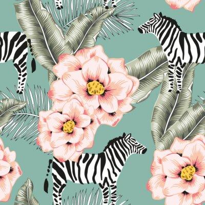 Tapeta Tropical zebra, rose flowers, banana palm leaves, green background. Vector seamless pattern. Jungle illustration. Exotic plants, animals. Summer floral design. Paradise nature