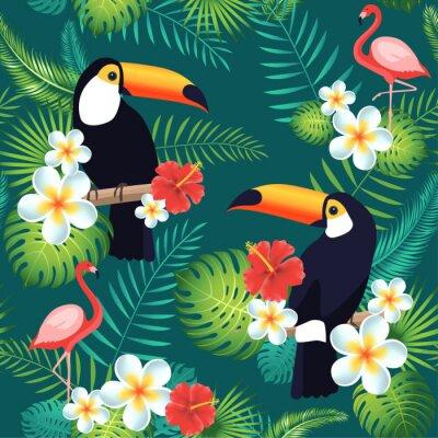 Tapeta Tropikalna bez szwu deseń z tukany, flamingów, egzotycznych liści i kwiatów. Ilustracji wektorowych