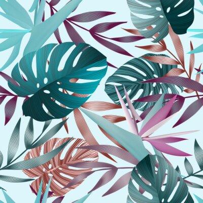 Tapeta Tropikalne kwiaty, liście, jungle bird of paradise kwiat.