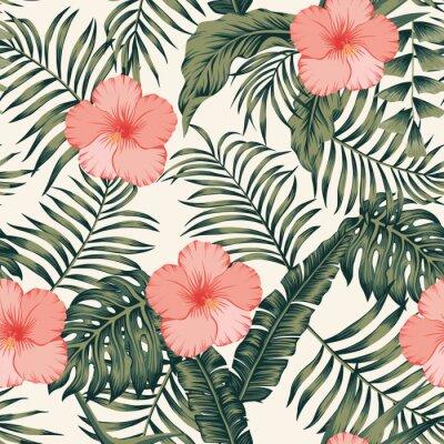 Tapeta Tropikalne liście i hibiskus streszczenie kolory bezszwowe białe tło