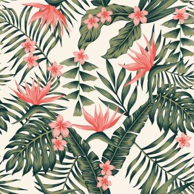 Tapeta Tropikalne ro? Liny i kwiaty abstrakcyjne kolory bezszwowe? Ó? Tym tle