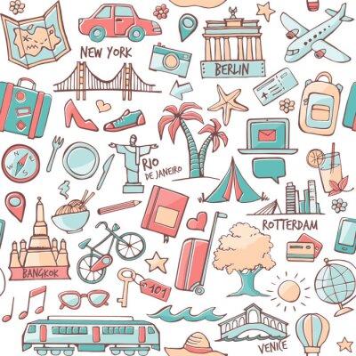 Tapeta Turystyka i podróże przeznaczenia bez szwu wzór