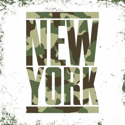 Tapeta Typografia kamuflażu dla wydruku t-shirtów. Nowy Jork, varsity, sportowa koszulka grafiki