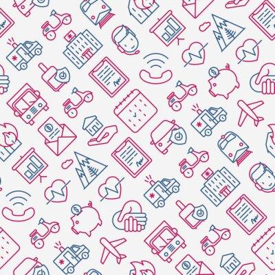 Tapeta Ubezpieczenia bez szwu z cienkimi ikonami linii: zdrowie, życie, samochód, dom, oszczędności. Ilustracja wektorowa nowoczesne banner, szablon strony internetowej, nośnik.
