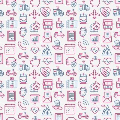 Tapeta Ubezpieczenia bez szwu z cienkimi ikonami linii: zdrowie, życie, samochód, dom, oszczędności. Nowożytna wektorowa ilustracja dla tła.