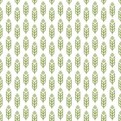 Tapeta Ucho wzór bez szwu zielony kolor na białym tle do dekoracji naturalny sklep produktów, organicznych rynku, sklep piekarni, firmy natury, firma ekologia, ogród, rolnictwo, las. Ilustracja wektora