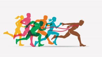 Tapeta uruchamianie ludzie zestaw sylwetki, konkurencji i wykończenia