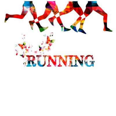 Tapeta Uruchamianie tła z osobami silhouettes samodzielnie. Sport, fitness, bieganie, jogging, aktywnych ludzi, szkolenia, rekreacja, ludzie ćwiczenia projektowania ilustracji wektorowych