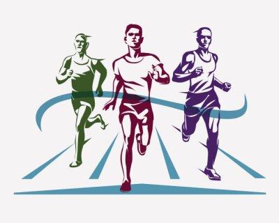 Tapeta uruchomiony symbol sportowca, koncepcja sportu i konkurencji