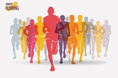 Tapeta uruchomiony zestaw sylwetki ludzi, sport i aktywność backgroun