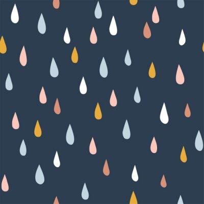 Tapeta Various raindrops. Kids drawing style. Childish scandinavian backdrop. Flat design. Hand drawn colored vector seamless pattern. Modern trendy illustration for fabric, textile, wallpaper, scrapbook