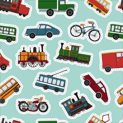 Tapeta Vector colored seamless pattern of retro engines and transport stickers. Vector repeat background of vintage trains bus, tram, trolleybus, car, bicycle, bike, van, truck.