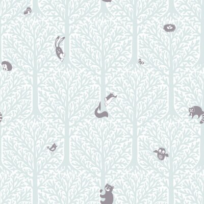 Tapeta Vector cute pattern with forest animals and birds.
