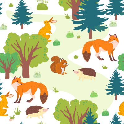Tapeta Vector flat seamless pattern with wild forest trees, grass and animals isolated on white background. Fox, hedgehog, squirrel, hare. For packaging paper, cards, wallpapers, gift tags, nursery decor etc