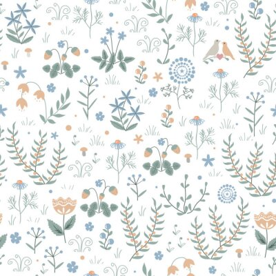 Tapeta Vector floral seamless pattern with meadow plants, flowers and birds, doodle scandinavian background