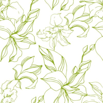 Tapeta Vector Orchid floral botanical flowers. Black and white engraved ink art. Seamless background pattern.
