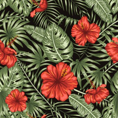 Tapeta Vector seamless pattern of green tropical leaves with red hibiscus flowers on black background. Summer or spring repeat tropical backdrop. Exotic jungle ornament