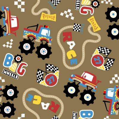 Tapeta vector seamless pattern of monster truck race cartoon