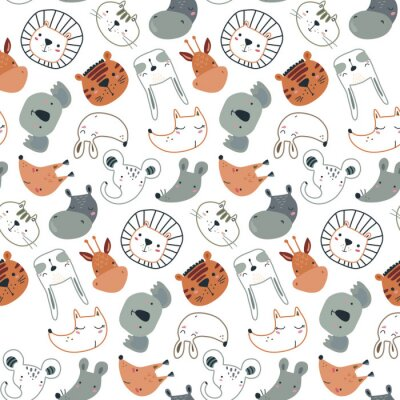 Tapeta Vector seamless pattern with cute animal faces in simple scandinavian style.