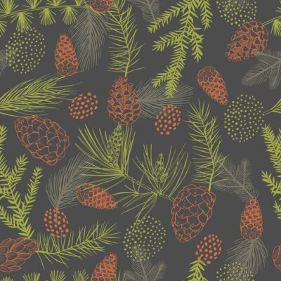 Tapeta Vector  seamless pattern with hand drawn Christmas plants