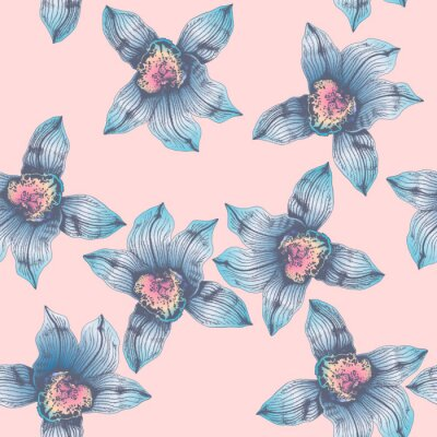 Tapeta Vector seamless pattern wonderful blue orchid hand-drawn in graphic and real-style at the same time. Delicate colors: pink, purple, blue, beige. Looks vintage, beautiful, decoration for holidays