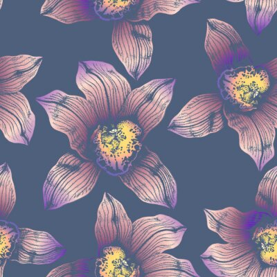 Tapeta Vector seamless pattern wonderful colorful orchid hand-drawn in graphic and real-style at the same time. Delicate colors: pink, purple, yellow, beige. Looks vintage, beautiful, decoration for holidays