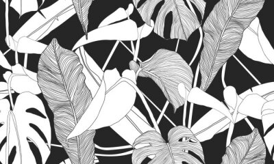 Tapeta Vector tropical seamless pattern. Exotic plants on black background. Abstract floral seamless pattern. Textile print.