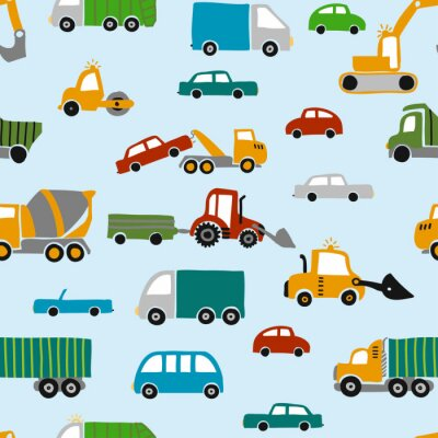 Tapeta Vehicle pattern design with several machines - funny hand drawn doodle, seamless pattern. Lettering poster or t-shirt textile graphic design. / wallpaper, wrapping paper, background.