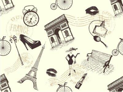Tapeta Vintage bezszwowe wzór motywu paryskiego