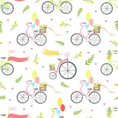 Tapeta Vintage Bikes with Flowers and Balloons Seamless Pattern Vector Illustration