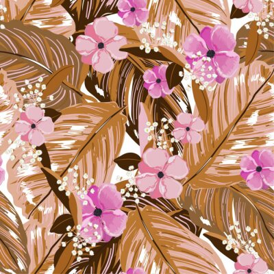 Tapeta Vintage exotic layer of summer leaves and blooming flowers seamless pattern in vector design for fashion,web,wallpaper,fabric and all prints
