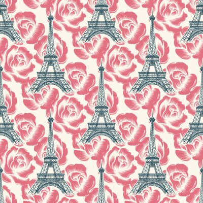Tapeta Vintage Francja bez szwu deseń. Wektor Wieża Eiffla bezszwowych tekstur