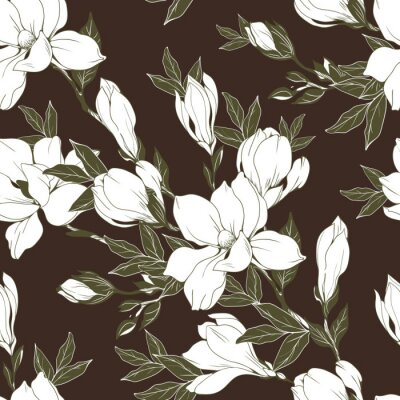 Tapeta Vintage kwiaty magnolii i pąki. Wzór. Ilustracja wektorowa