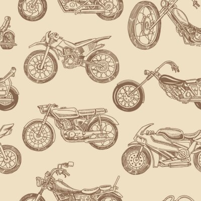 Tapeta Vintage motorcycles Seamless Pattern. Bicycle Background. Extreme Biker Transport. Retro Old Style. Hand drawn Engraved Monochrome Sketch.