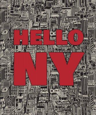 Tapeta Vintage plakat z cytatem Nowym Jorku, bezszwowe tło wzór z ręcznie rysowane architektury, drapacze chmur, Megapolis, budynków, centrum biznesowe.