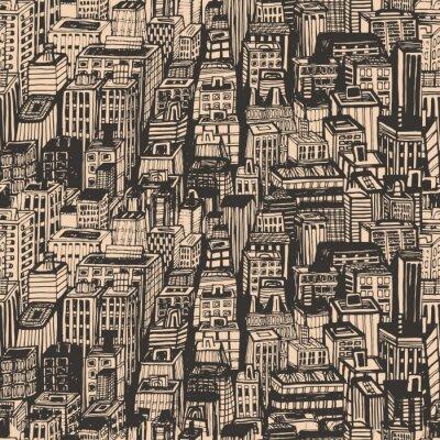 Tapeta Vintage projektu gazetowy wyciągnąć rękę szwu z dużego miasta. ilustracji wektorowych z NYC architektury, drapacze chmur, Megapolis, budynków śródmieścia.