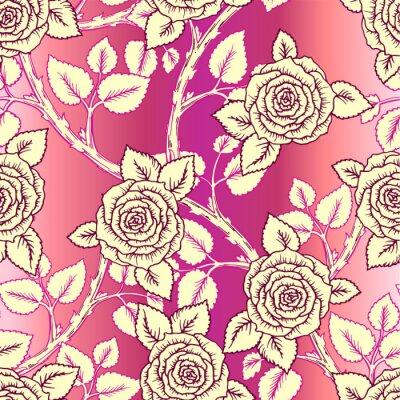 Tapeta Vintage wektor wzór z róż