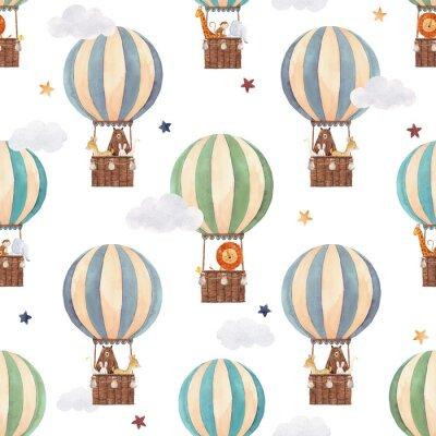 Tapeta Watercolor air baloon pattern