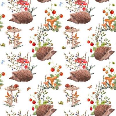 Tapeta Watercolor autumn forest pattern
