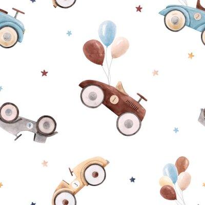 Tapeta Watercolor baby car vector pattern