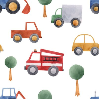 Tapeta Watercolor baby car vehicle vector pattern