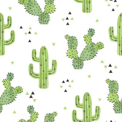 Tapeta Watercolor cactus seamless pattern. Vector background with green cactus isolated on white.