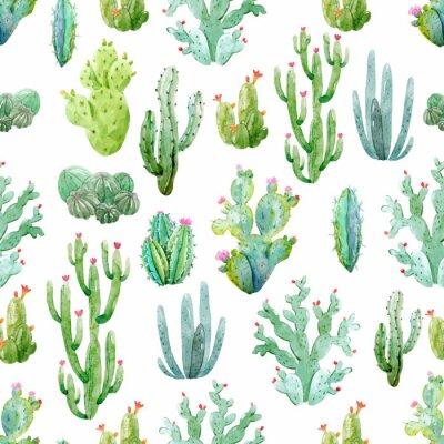 Tapeta Watercolor cactus vector pattern