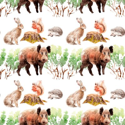 Tapeta watercolor forest seamless pattern with animals and plants