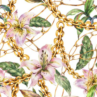 Tapeta Watercolor gold chains and rings seamless pattern with white royal lilies, fashion vintage luxury elements